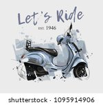 blue scooter illustration with...   Shutterstock .eps vector #1095914906