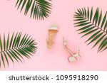 pink heeled sandal and tropical ...   Shutterstock . vector #1095918290
