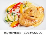 chicken with rice and vegetables | Shutterstock . vector #1095922700