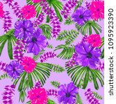 tropical pattern violet purple... | Shutterstock . vector #1095923390