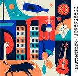 spain icons set. spanish... | Shutterstock .eps vector #1095925523