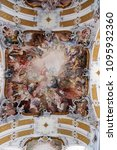 Small photo of AMORBACH, GERMANY - JULY 08: Last Judgment and Glorification of the Benedictine Order, fresco by Matthaus Gunther in Benedictine monastery church in Amorbach, Germany on July 08, 2017.