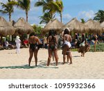 group of tourists on a tropical ... | Shutterstock . vector #1095932366