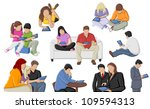 group of people with tablets | Shutterstock .eps vector #109594313