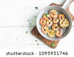 roasted shrimps with lemon ... | Shutterstock . vector #1095951746