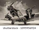 historical aircraft on an... | Shutterstock . vector #1095956924