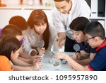 cheerful male teacher...   Shutterstock . vector #1095957890
