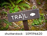 Trail Wood Sign In The Forest....