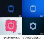 glitch  neon effect. shield... | Shutterstock .eps vector #1095973550