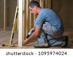 young professional worker uses... | Shutterstock . vector #1095974024