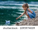small cute blond long haired...   Shutterstock . vector #1095974039