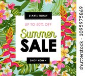 summer sale tropical banner.... | Shutterstock .eps vector #1095975869