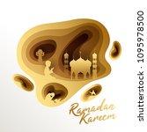 ramadan kareem  paper layered...   Shutterstock .eps vector #1095978500