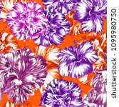 vibrant floral pattern tropical ... | Shutterstock . vector #1095980750