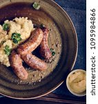 bangers and mash food... | Shutterstock . vector #1095984866