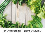 the greens on the table. detox... | Shutterstock . vector #1095992360