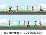 marathon runner men and women... | Shutterstock .eps vector #1096001930
