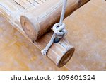 bamboo wood and rope - stock photo