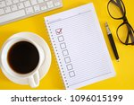 notebook with checklist. flat... | Shutterstock . vector #1096015199