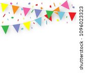 colorful party flags with... | Shutterstock .eps vector #1096023323