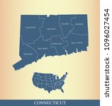connecticut county map vector... | Shutterstock .eps vector #1096027454