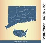 connecticut county map vector... | Shutterstock .eps vector #1096027454