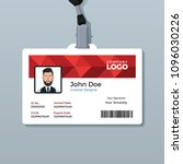 red polygon id card template | Shutterstock .eps vector #1096030226