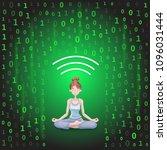 digital detox and meditation....   Shutterstock .eps vector #1096031444