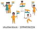 indian people holding and... | Shutterstock .eps vector #1096036226