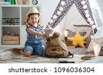 funny happy child girl tourist... | Shutterstock . vector #1096036304