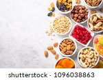 nuts and dried fruits... | Shutterstock . vector #1096038863