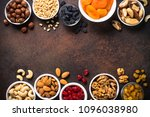 nuts and dried fruits... | Shutterstock . vector #1096038980
