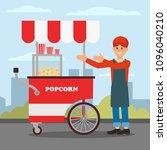 friendly seller standing near...   Shutterstock .eps vector #1096040210