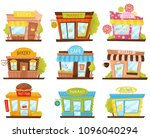 vector set of small city stores ...   Shutterstock .eps vector #1096040294