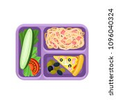 purple plastic tray with tasty... | Shutterstock .eps vector #1096040324