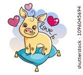 2019 year symbol. cute cartoon...   Shutterstock .eps vector #1096045694