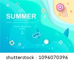 top view beach background with...   Shutterstock .eps vector #1096070396