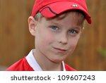 happy boy in a red football... | Shutterstock . vector #109607243