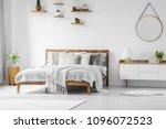 comfortable  big  wooden bed...   Shutterstock . vector #1096072523