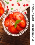 a serving of strawberry over... | Shutterstock . vector #1096074038