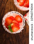 a serving of strawberry over... | Shutterstock . vector #1096074044
