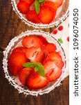 a serving of strawberry over... | Shutterstock . vector #1096074050