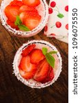 a serving of strawberry over... | Shutterstock . vector #1096075550