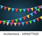 banner with garland of colour... | Shutterstock .eps vector #1096077020
