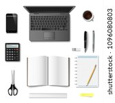 office and bisiness supplies... | Shutterstock .eps vector #1096080803