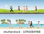 marathon runners compete on... | Shutterstock .eps vector #1096084988