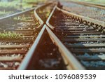 railway crossroads. choosing... | Shutterstock . vector #1096089539