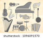 set of musical instruments on... | Shutterstock .eps vector #1096091570