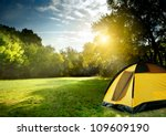 Tourist Tent In Forest Camp...