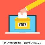 voting online concept. hand... | Shutterstock .eps vector #1096095128